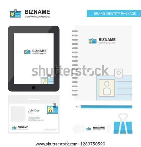 Id card Business Logo, Tab App, Diary PVC Employee Card and USB Brand Stationary Package Design Vector Template #1283750590