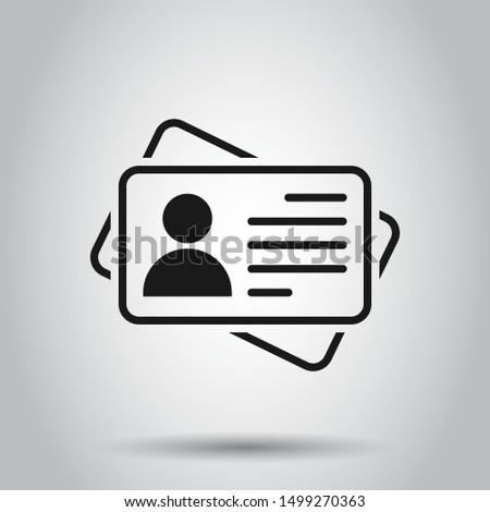 Id card icon in flat style. Identity tag vector illustration on isolated background. Driver licence business concept.