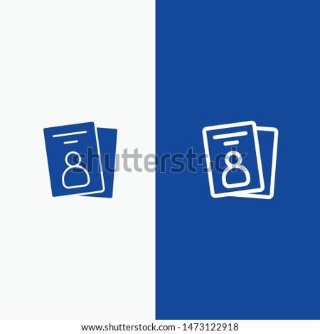 Id, Card, ID Card, Pass Line and Glyph Solid icon Blue banner Line and Glyph Solid icon Blue banner