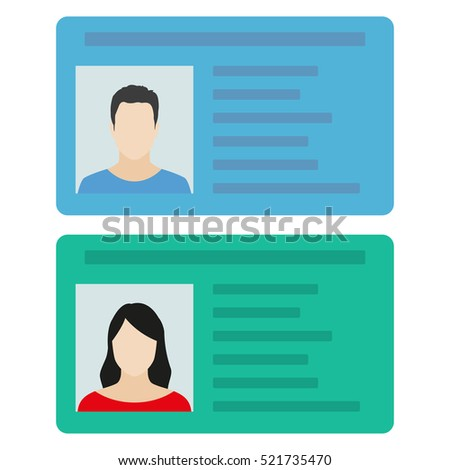 ID card or Car driver license with man and woman photo. Vector illustration in flat style.