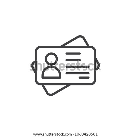 Id card outline icon. linear style sign for mobile concept and web design. Identification card simple line vector icon. Symbol, logo illustration. Pixel perfect vector graphics