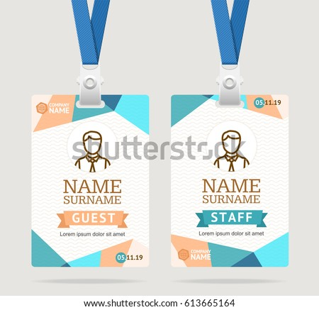 Id Card Template Plastic Badge with Abstract Colored Polygonal Design. Vector illustration of two cards idenyification