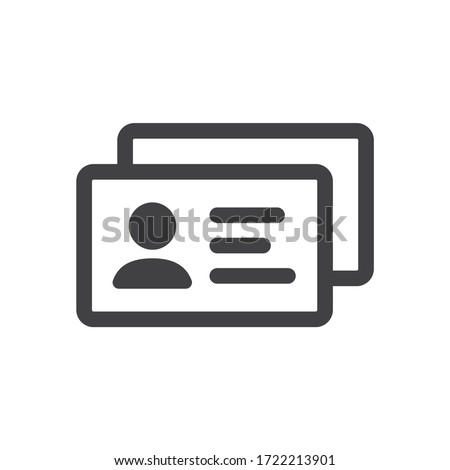 ID card vector icon. Identification card flat sign design. EPS 10 ID card pictogram sign. Member card symbol pictogram. VIP person icon