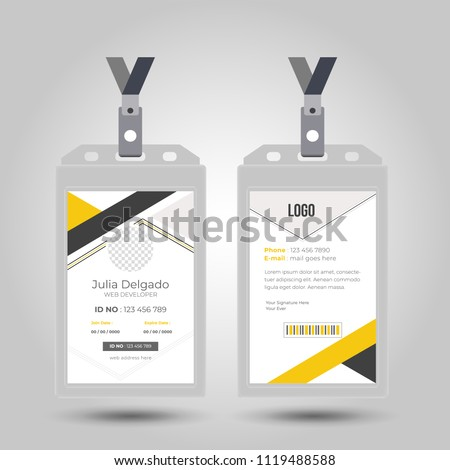 Id card with lanyard set isolated vector illustration. Blank plastic access card, name tag holder with pin ribbon, corporate card key, personal security badge, press event pass template.