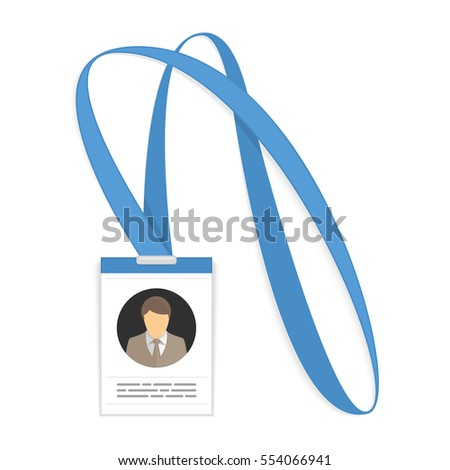 Id card with the cute person. Vector illustration of ID badge for businessman with lanyard. Identification Card template in flat style.