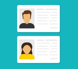 ID cards. Personal info data. Identification document with person photo. User or profile card. Driver's license. Flat style. Vector illustration.