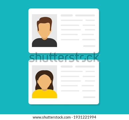 ID cards. Personal info data. Identification document with person photo. User or profile card. Driver's license. Flat style. Vector illustration. Stock fotó ©