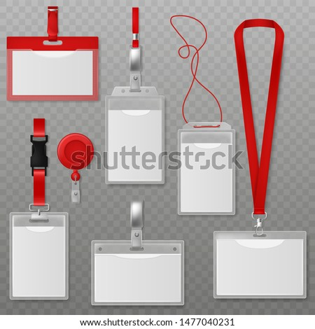 Id plastic cards. Blank identification badge, authentication security card tags with holder and neck lanyard realistic vector corporate employees and visitor photo template