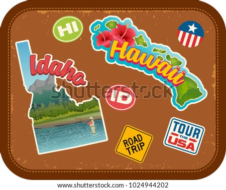 Idaho and Hawaii travel stickers with scenic attractions and retro text on vintage suitcase background #1024944202