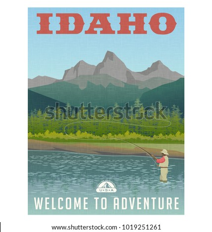 Idaho, United States travel poster or sticker. Fly fishing in mountain stream.