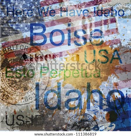 idaho word grunge collage on
