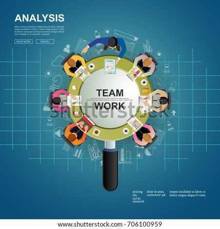 Idea and concept for business brainstorming teamwork.solution and innovation analysis and,consulting, project management,financial report and strategy team . vector illustration.