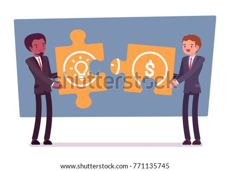 Idea and money puzzle. Young businessman and investor with capital, trying to match parts of plan and investment, financing a business creation. Vector business concept flat style cartoon illustration
