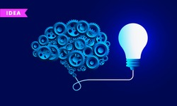 Idea brain - Human brain containing gears connected to lightbulb. Thinking hard, brainstorming, coming up with ideas, and the power of creativity concept. Vector illustration.