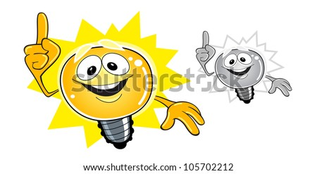 Idea bulb cartoon character