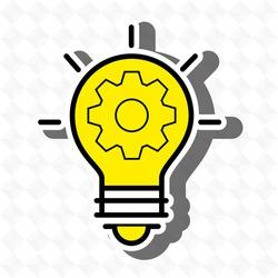 idea bulb gear icon vector illustration graphic