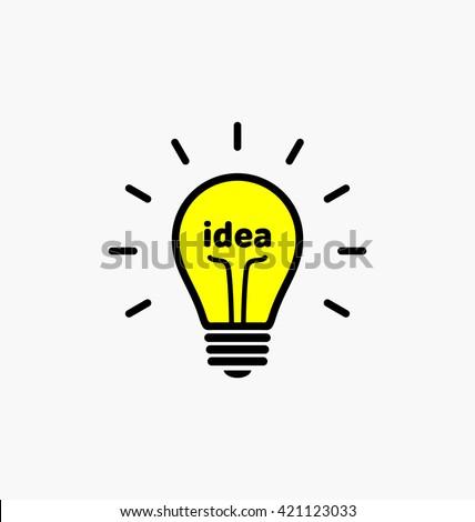Idea bulb. Light bulb icon with concept of idea vector illustration isolated on white background. Idea word inside yellow light bulb. Idea shining symbol. Sign of idea for presentation and web design.