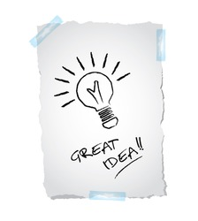 Idea business marketing strategy concept, drawing of a bulb on ripped paper, vector illustration