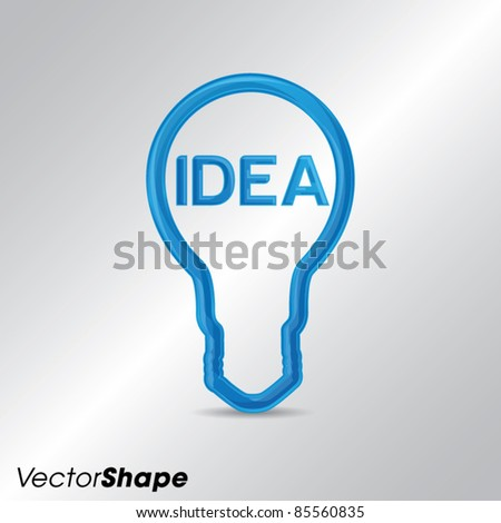 Idea business marketing strategy concept, modern high-tech bulb with IDEA text, vector illustration