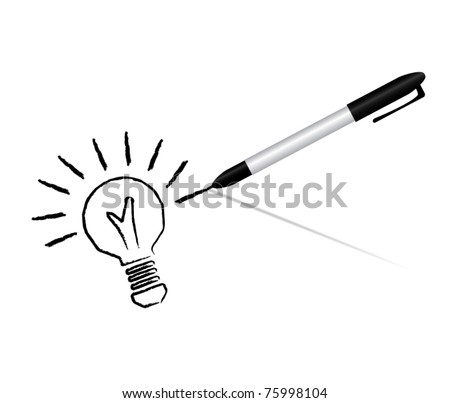 Idea business marketing strategy concept, pen drawing bulb, vector illustration