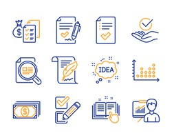 Idea, Checkbox and Feather icons simple set. Payment, Check article and Approved checklist signs. Accounting wealth, Technical documentation and Approved agreement symbols. Line idea icon. Vector