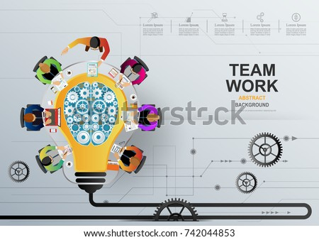 Idea concept for business teamwork, creative innovation, . Vector illustration.