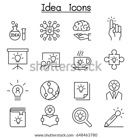 Idea, Creative, Innovation, Inspiration icon set in thin line style