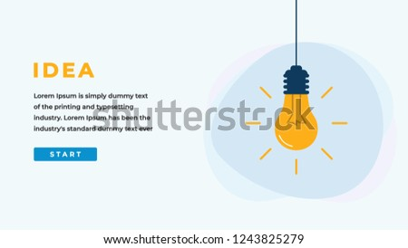 Idea Design Concept with Shining Light Bulb, Button, Headline and Text Place. Suitable for Web banner, Infographics, Hero images. Flat Vector Illustration Isolated on White Background.