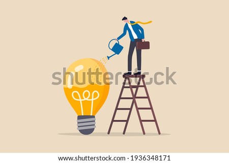 Idea development, creativity genius or knowledge to think about new business idea, skill improvement or career growth concept, smart businessman on ladder watering to fill in liquid in idea light bulb Foto stock ©