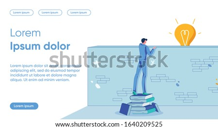 Idea Discovery Flat Landing Page Vector Template. Fresh Look, Insight Metaphor. Man Looking over Wall Faceless Character. Barrier Overcoming, Breaking Stereotypes, Solution Vision Homepage Layout
