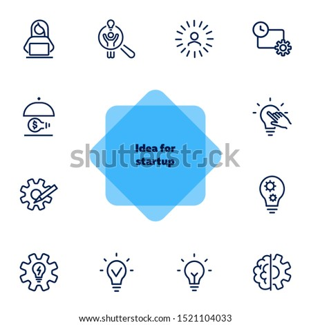 Idea for startup line icon set. Shining bulb, lightbulb, gear, entrepreneur. Business concept. Can be used for topics like genius, innovation, new project