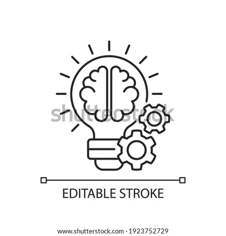 Idea generation linear icon. Process of creation brilliant concepts. Thin line customizable illustration. Efficient time using. Contour symbol. Vector isolated outline drawing. Editable stroke