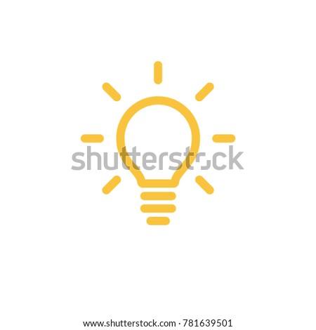 Idea icon, light bulb shining pictogram