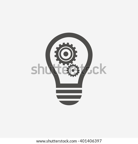 Idea icon. Light lamp bulb with cogwheel gear symbols. Flat icon on white background. Vector