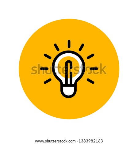 Idea icon, linear shining lamp illustration. light bulb pictogram.