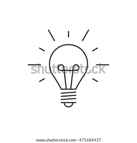Idea icon outline lamp illustration vector isolated on white background