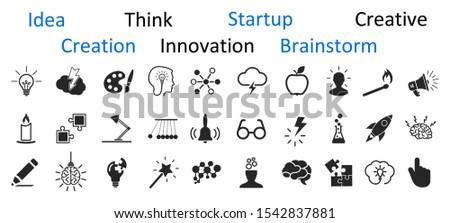 idea icons set  creativity sign