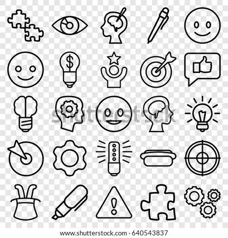Idea icons set. set of 25 idea outline icons such as gear in head, human brain, brain surgery, hot dog, warning, target, gear, bulb, pen, smiling emot, celebrity