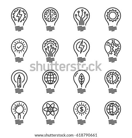 Idea intelligence creativity knowledge thin line icon set. Editable stroke.