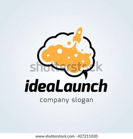 Idea launch logo. rocket logo. vector logo template.