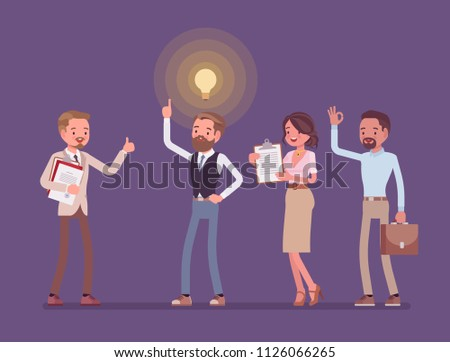 Idea management. Ideation creative process, man generating, developing, and communicating new bright plan for company. Vector flat style cartoon illustration. Business and marketing management concept