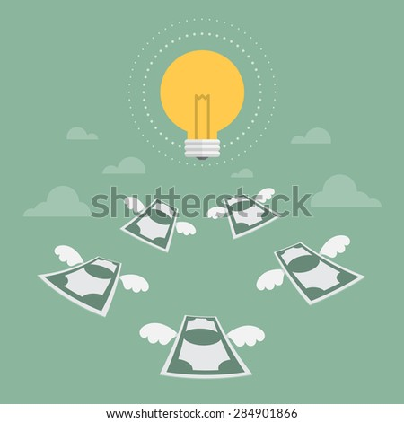 idea money flying to light