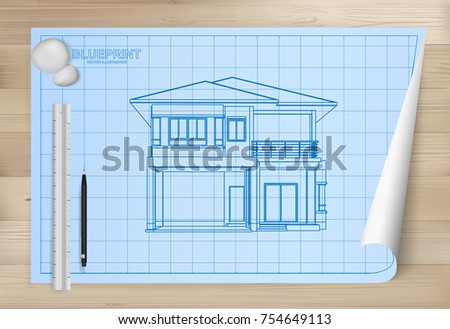 House blueprint and pencil download free vector art stock idea of house on blueprint paper background architectural drawing paper on wooden texture background malvernweather Choice Image