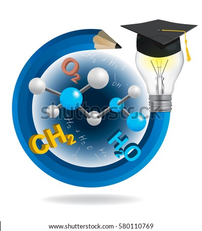 Idea pencil with Graduation cap and chemistry symbols. Illustration of blue twisted pencil with a light bulb,Graduation hat cap and chemistry  symbols. Vector available