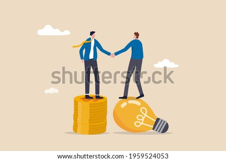Idea pitching, fund raising and venture capital, selling business or merger agreement concept, entrepreneur businessman standing on lightbulb idea lamp shaking hands with VC on money coins stack.