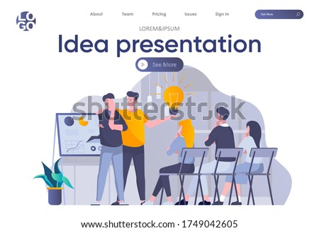 Idea presentation landing page with header. Startup team making presentation new great idea before investor in office scene. Pitching startup, coworking and teamwork situation flat vector illustration Stockfoto ©