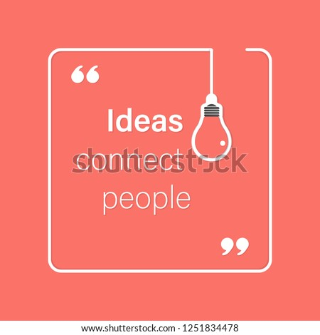 idea quote with light bulb with gears. concept of big ideas inspiration innovation, invention, effective thinking. text. outline. Vector for your design in color of 2019 Living Coral - stock vector