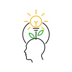 Idea solution concepts with plant and light bulb over a human head. Thin line icon. Isolated on white background.