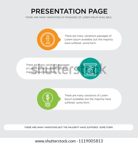 Idea, Stats, Info vector icons presentation design template, sign and symbols in orange, green, yellow colors, Idea, Stats, Info icon set