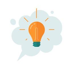 Idea thinking cloud bubble with lightbulb icon vector cartoon flat illustration, concept of finding great good idea symbol, creativity light bulb message isolated